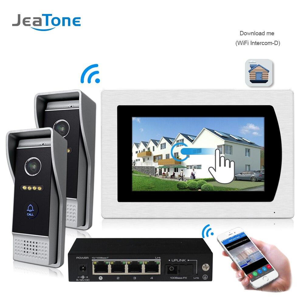 Sistema de intercomunicación para teléfono con WIFI IP, vídeo, timbre de puerta, pantalla táctil de 7 pulgadas para apartamento de 2 puertas, alarma de 8 zonas, compatible con Smartphone