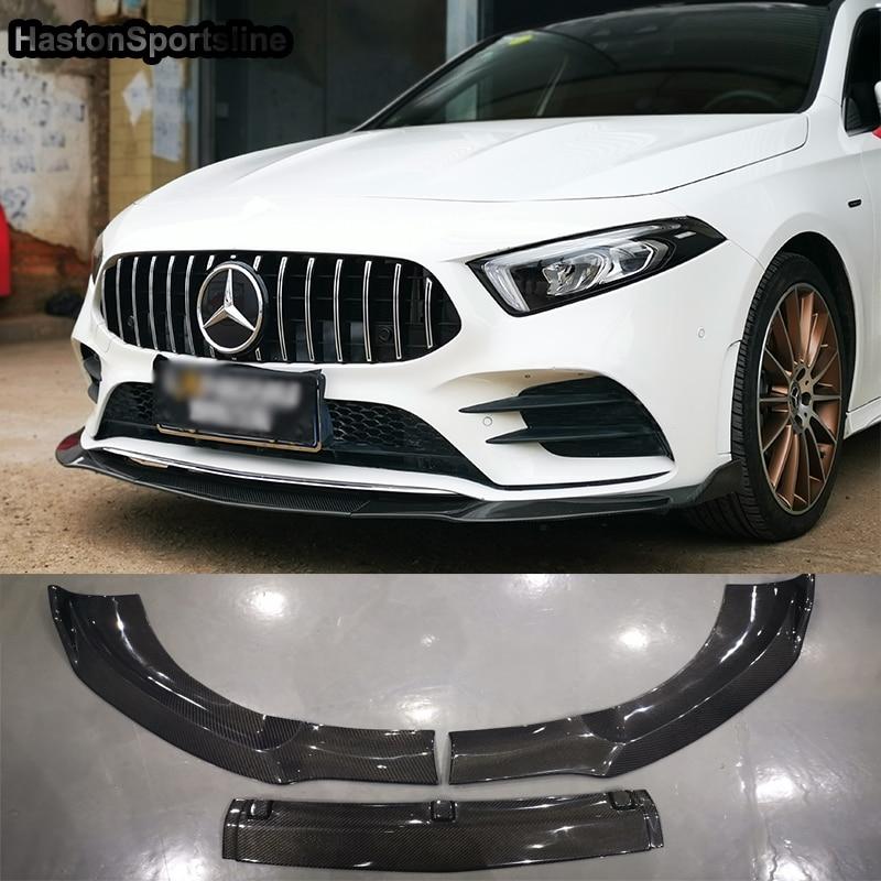 W177 3Pcs/SET Carbon Fiber Body Kit Front lip bumper Spoiler for Mearcedes Benz W177 2018UP Standard Bumper