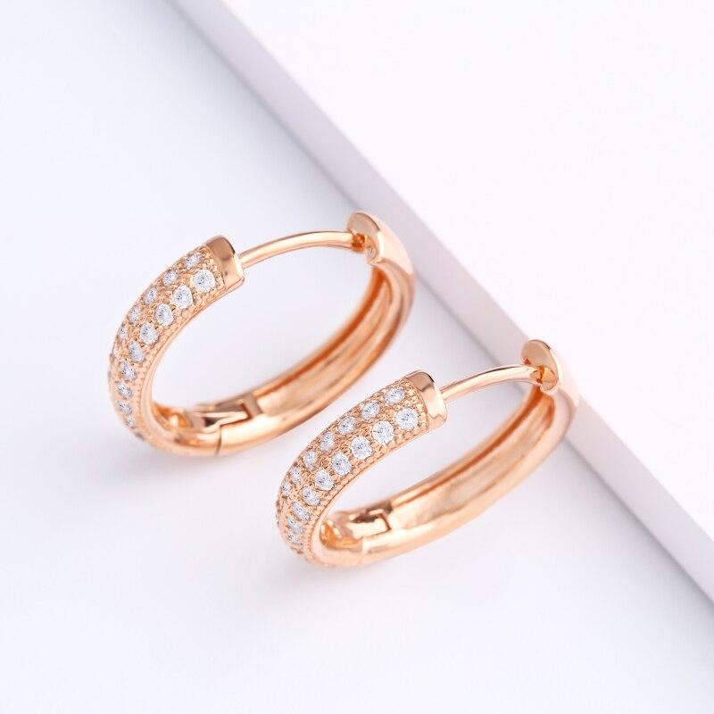 OCESRIO pendientes de aro para la oreja con incrustaciones de circón de lujo, Piercing redondo para mujer 585, pendientes de aro de oro rosa para niñas, joyería ers-n38
