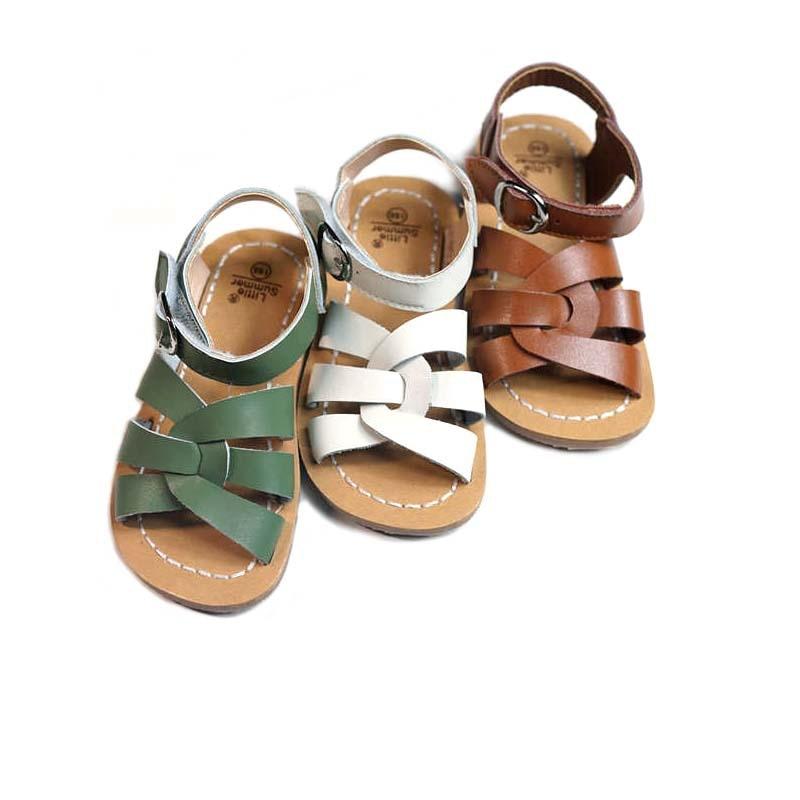 جلد البقر الأطفال الصنادل عالية الجودة جلد طبيعي الفتيات الشاطئ المياه المالحة الصنادل عدم الانزلاق وحيد أحذية أولاد 6T