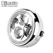 "BJMOTO Chrome 6.5"" 40W LED Motorcycle Headlight Hi&Lo Beam with Angel Eye Headlamp For Harley Suzuki Yamaha Cafe Racer"