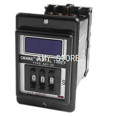 ASY-3D ac 220 v 2no 2nc 8 p 999 segundos 999sec 3 dígitos display timer relé com base ASY-3D