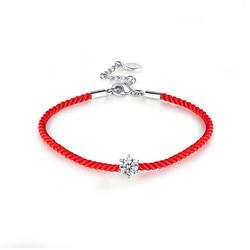 Boako moda feminina fio corda vermelha pulseira de prata cor aaa zircônia cúbica sorte trançado encantos ajustável pulseira z3