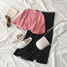 Women sets] suit Summer 2019 new women's Korean version of the wave point wide leg pants + fashion t-shirt skirt