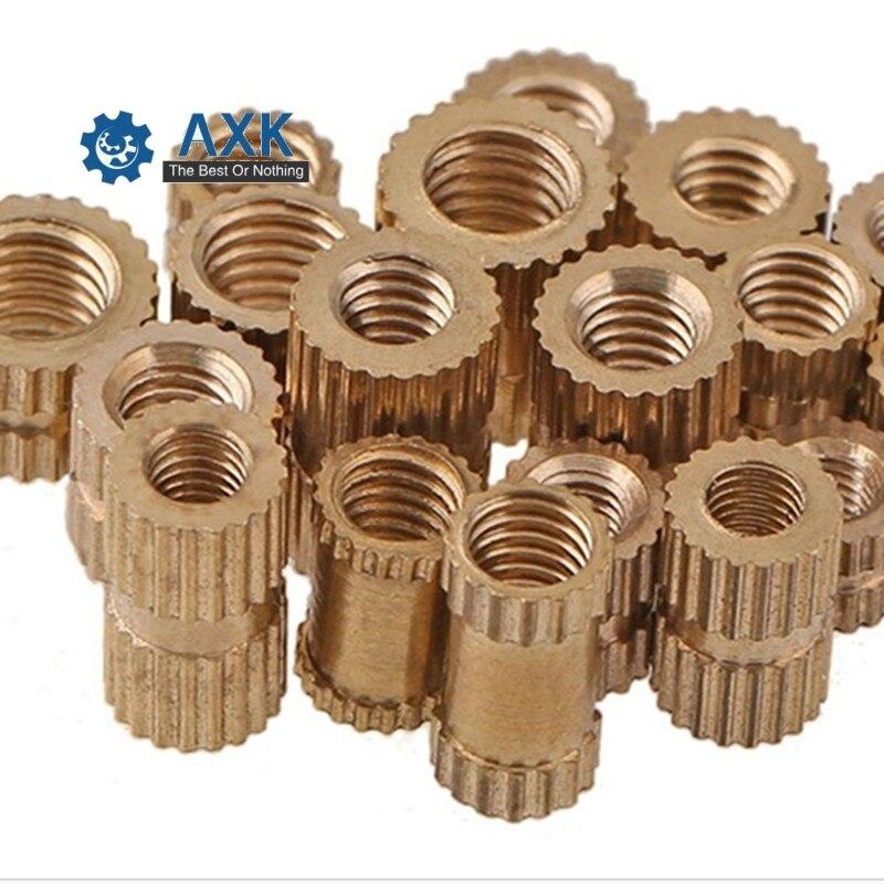 Купить с кэшбэком Insert Nut Brass 100pcs/lot M2 M2.5 M3 Though-hole Stainlness Steel Copper Through Hole A Knurled Axk Electrical 20cm X 5cm