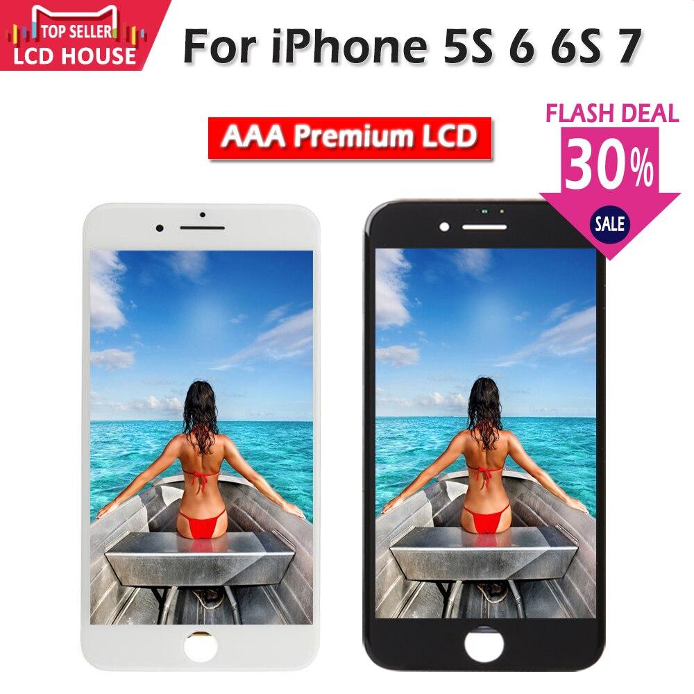 Pantalla LCD de calidad AAA para iPhone 6 6S 7 reemplazo de pantalla táctil para iPhone 5S sin pantalla de píxeles muertos + vidrio templado + herramientas + TPU