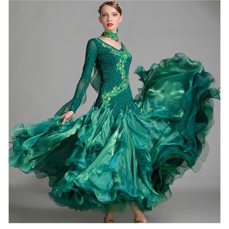 Modern Dance Dress Lady Dancing Performance Suit Long Sleeve Girl Standard Dancing Costume Diamond Competition Dress B-6142