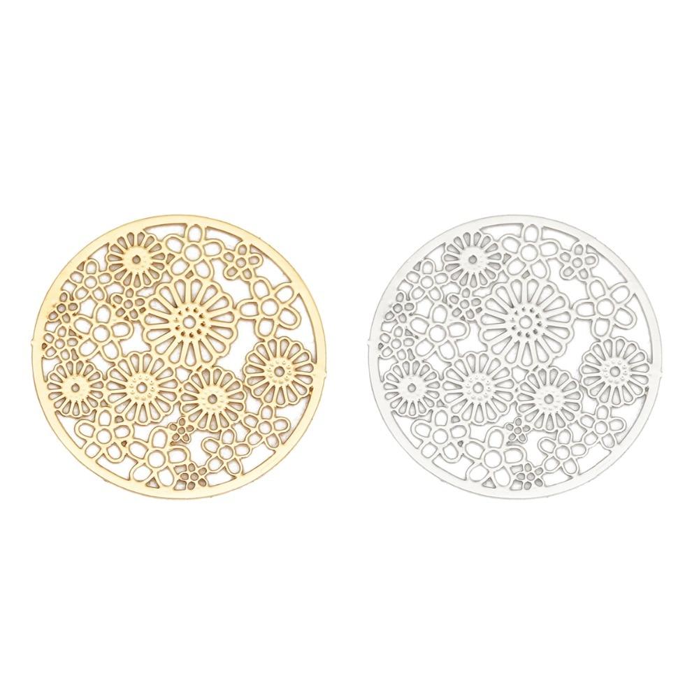 DoreenBeads moda aleación con base de hierro estampado en filigrana conectores redondos Color plata oro flor DIY encantos 23mm Dia, 10 Uds