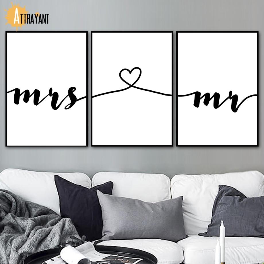 Mr Mrs Impressões Amor Cartaz Inspirador Nórdico Cartazes E Impressões Da Parede Da Pintura da Lona Arte Da Parede Pictures For Living Room Decor