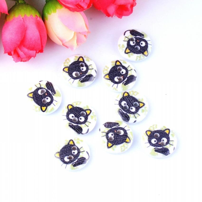 Frete grátis varejo 10pcs misturado aleatório 2 furos impressão gato botões de madeira 15mm dia. Ferramentas de costura para acessórios de roupa diy f0576