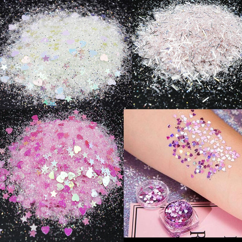 50/10 gramas glitter holográfico estrela glitter grande cabelo olho rosto corpo glitter maquiagem   solta iridescente cosméticos estrela 3mm glitter
