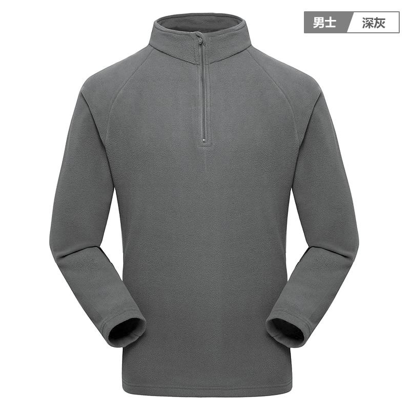 Outdoor spring autumn men women soft shell tops overcoat thermal warm fleece jacket liner pullover stand collar single jacket