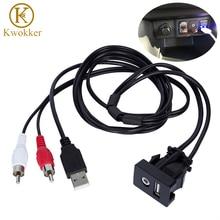 Interrupteur adaptateur de câble RCA de 1M   Voiture, Jack Audio AUX, câble dextension, câble dextension de montage de panneau pour VW Toyota, 3.5mm