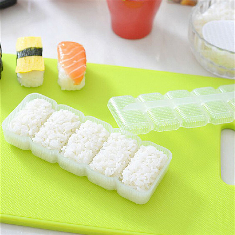 High Quality 1 Set 5 Rolls Maker Non Stick Press DIY Tool Sushi Tools Japan Nigiri Sushi Mold Rice Ball