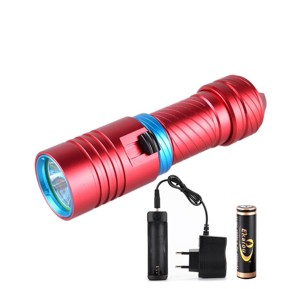 Portátil 2000LM XM-L2 DE BUCEO LED linternas antorcha impermeable + 18650 4000 mah batería + cargador