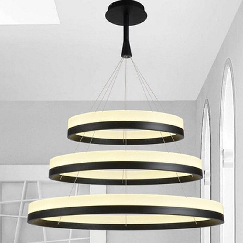 الاكريليك LED دائرة قلادة عصابة ضوء الحديثة الحد الأدنى قلادة مصباح لغرفة المعيشة غرفة الطعام إضاءة داخلية تركيبات