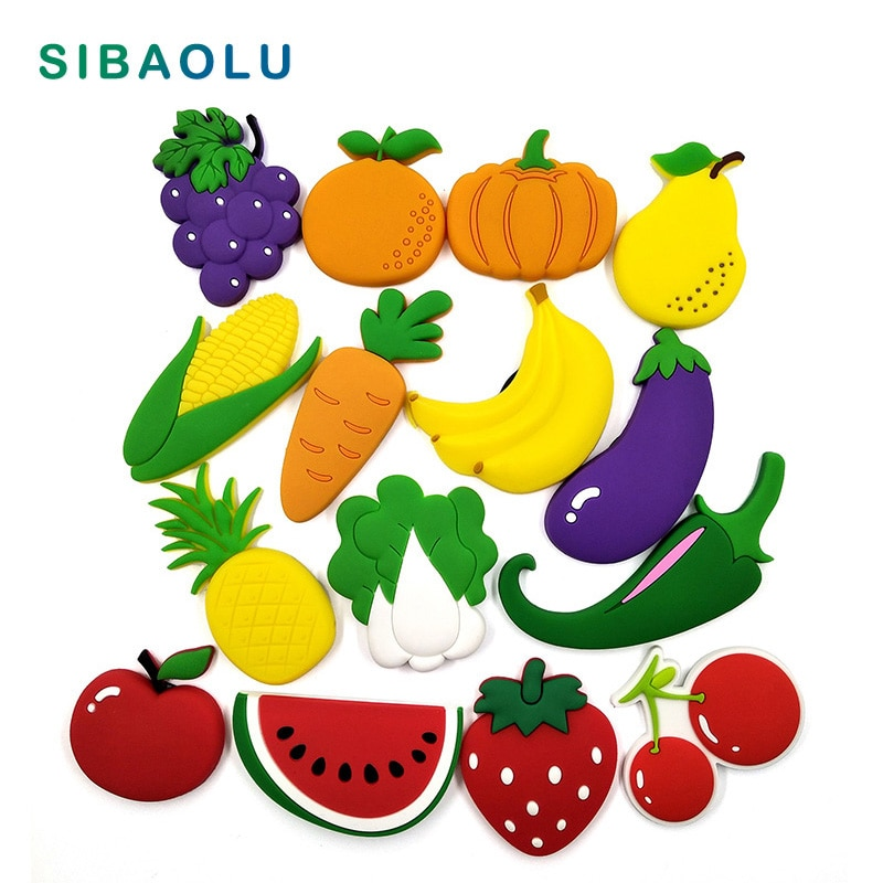 野菜果物シリコーン冷蔵庫ホワイトボードマグネット漫画食品ステッカー冷蔵庫マグネットメッセージポストギフト家の装飾