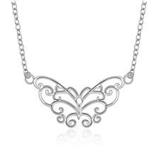 Rétro breloque papillon pendentif couleur argent collier usine directe de haute qualité mode bijoux livraison gratuite