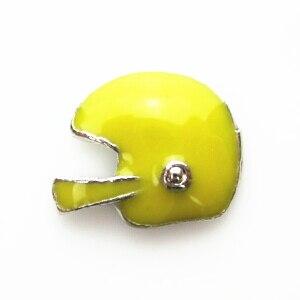 Venta caliente amarillo helment flotante encantos vidrio vivo flotante colgante medallones encantos
