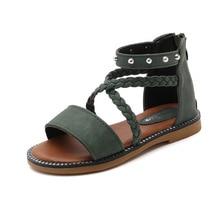 Sandales de plage en cuir pour filles   Sandales à Rivets pour enfants, chaussures dété princesse, sandales en tissage, pour enfants de 3 4 5 6 7 8 9 10 11 12 ans