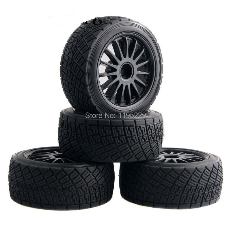 4 Uds 80mm RC 110 On-Road Rally Car neumáticos de goma llantas negro/blanco HPI WR8 y HSP 94177