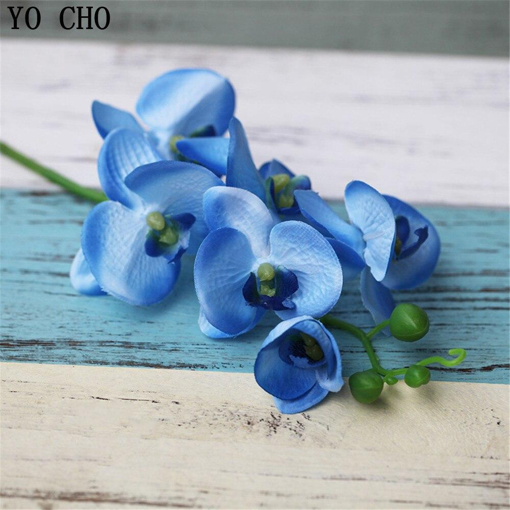 Ramo de orquídeas artificiales violetas, mariposa Real, orquídea, flor blanca de seda, Phalaenopsis, boda, hogar, flor rosa para Decoración
