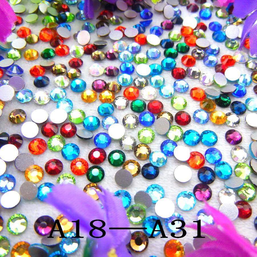 [A18-A31] 10 Sizes SS3-SS30 nice colors Round shape Flatback Glue on glass Crystal rhinestone beads nail art diy