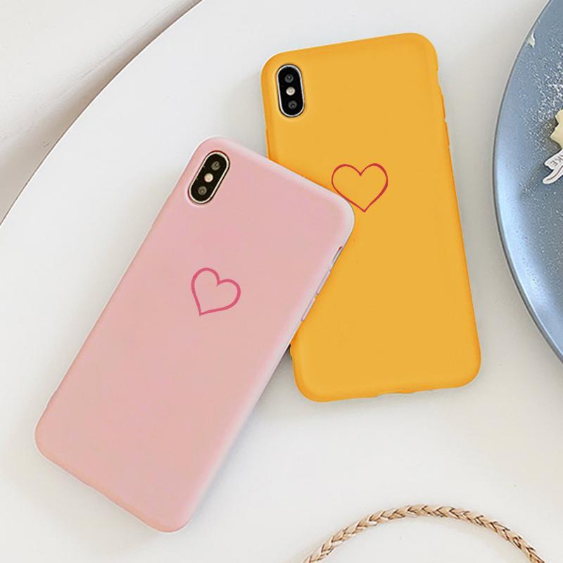 Caso para Xiaomi Redmi nota S2 7 6 5 Pro K20 más 6A 7A 5A 4X corazón Color brillante y mate de Color para Mi teléfono móvil F1 8 9 Lite SE A1 A2