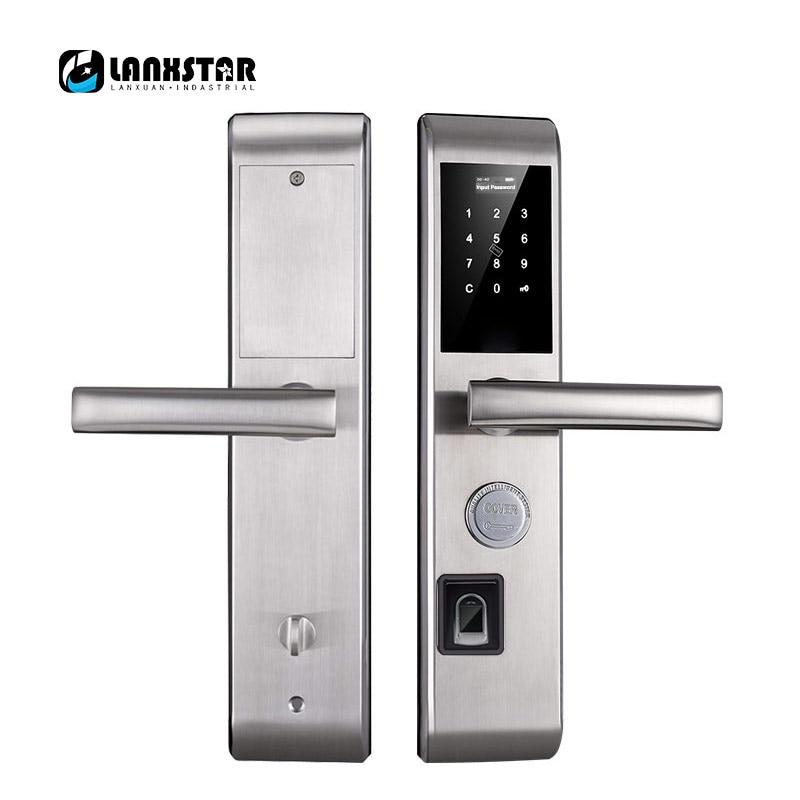 Новый сканер отпечатков пальцев Lanxstar, rfid-карты с динамическим кодом, умный замок 5 в 1, домашний интеллектуальный замок с защитой от кражи