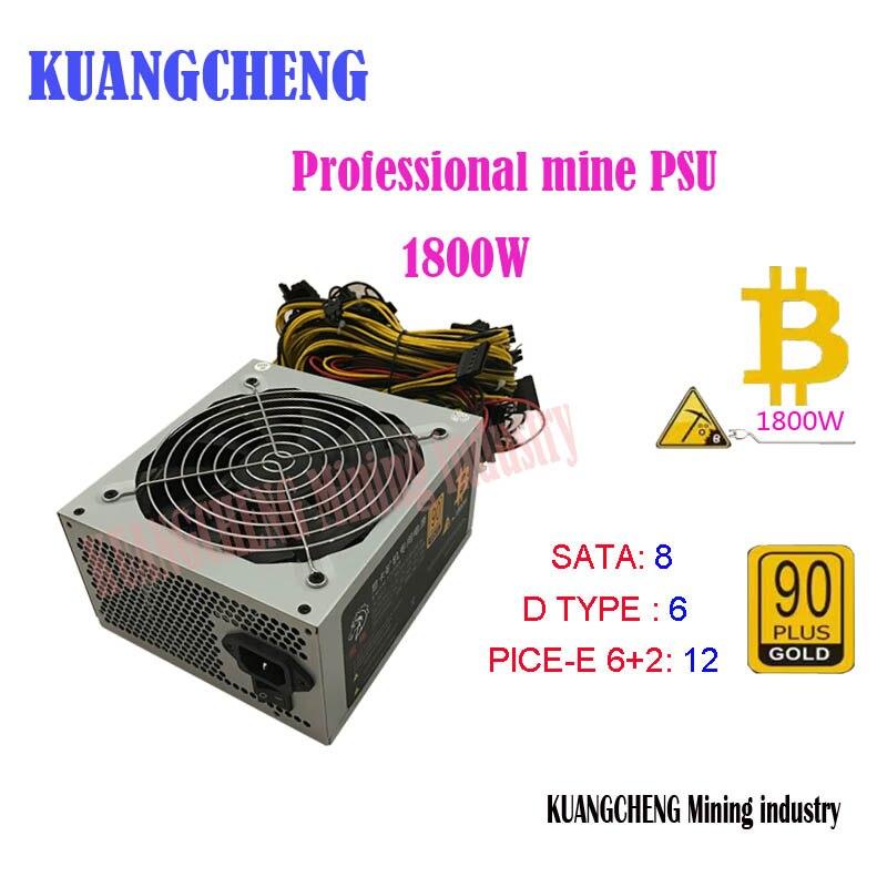 KUANGCHENG ETH miners PSU 1800 Вт 125A выход PSU для P104 P106 RX550 560 RX 570 GTX1050I GTX1060 GTX1080I 6 GPU карт
