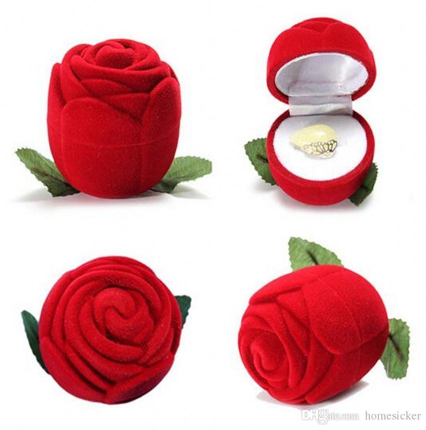 Novedad caja de anillo de rosa roja para compromiso pendientes de boda colgantes caja de joyería novia para ser boda y compromiso