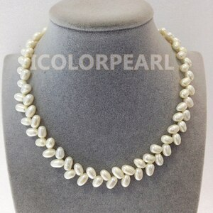 Wheat design Rice Shaped (7x11mm) White Natural Freshwater Pearl Necklace. Classic Pearl Jewelry For All Girls!