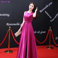 new arrival rose red bridesmaid dresses satin floor length elegant sash with bow knot front corset lace up long brides maid
