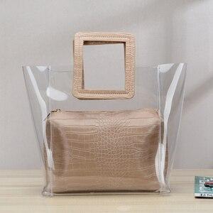 New Fashion Women Handbag Satchels High Quality Ladies Transparent Handbag 2pc/Set Jelly Multicolor Bag Women beach bag