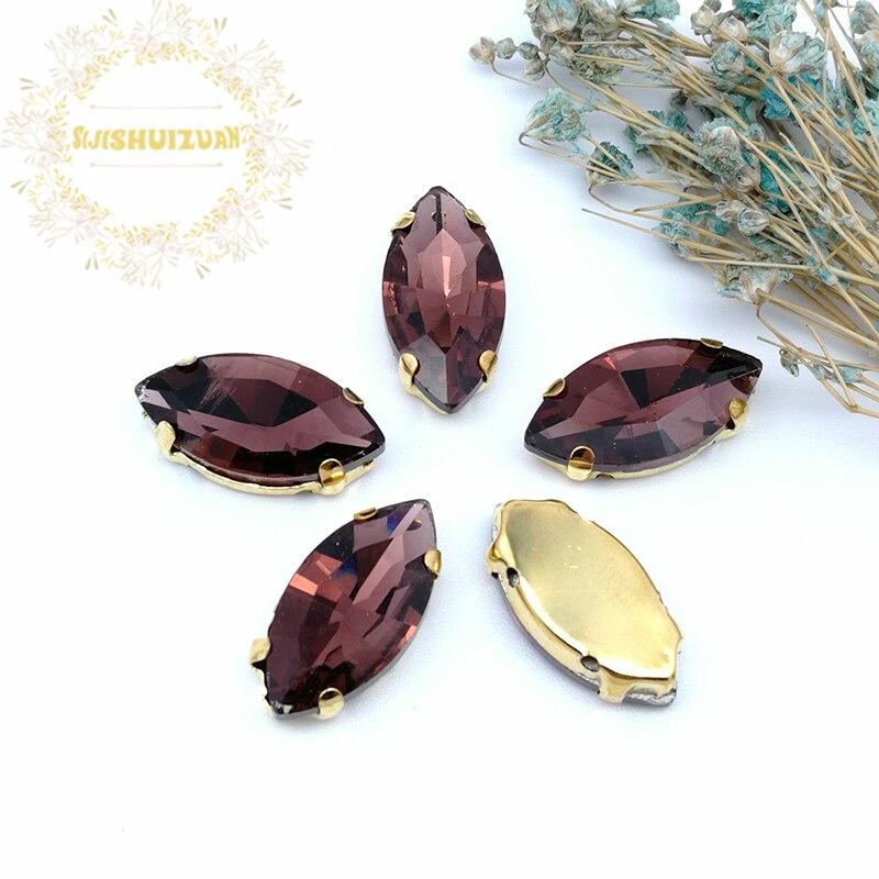 Cristal con forma de ojo de caballo rojo vino de estilo clásico con diamantes de imitación cosidos con garra dorada en miniatura Diy shose envío gratis