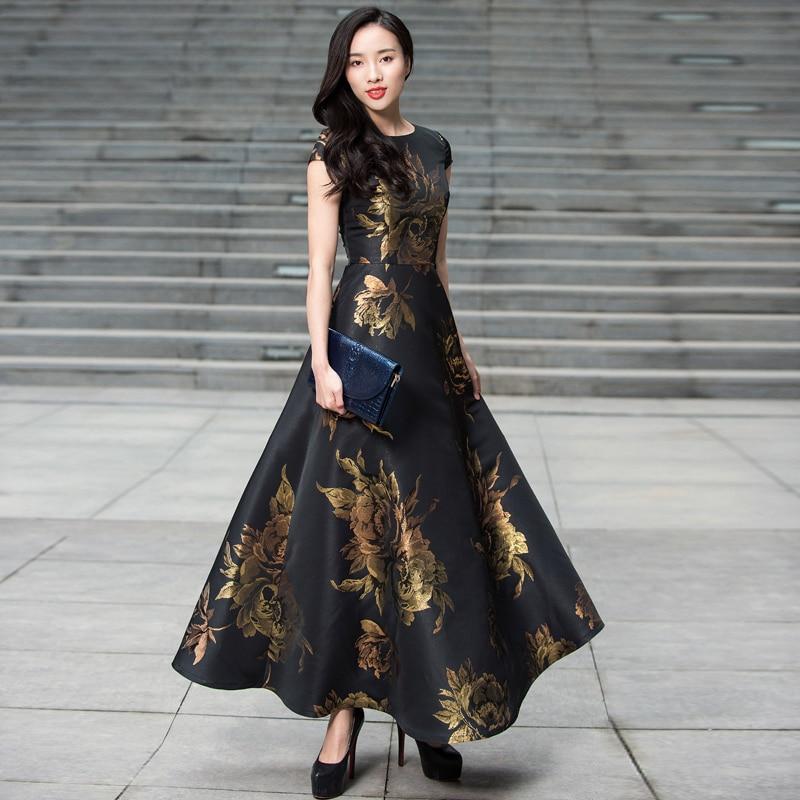 Vestidos Plus Size Women summer Long Maxi Dress Boho Floral Jacquard Dress Fashion Party Dress plus size floral handkerchief hem cami dress