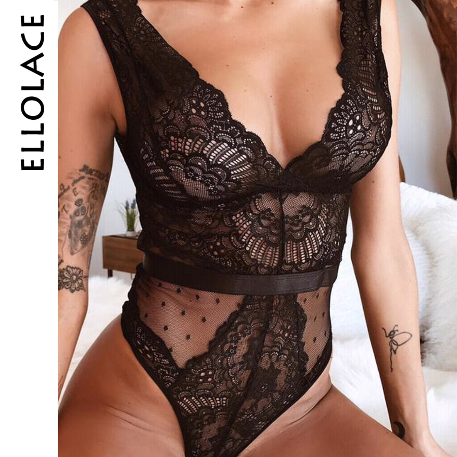 Ellolace Summer Lace Bodysuit Women Floral Embroidery Deep V Neck  Bodysuit Dot Patchwork Jumpsuit Overalls 2019 Femlae Body