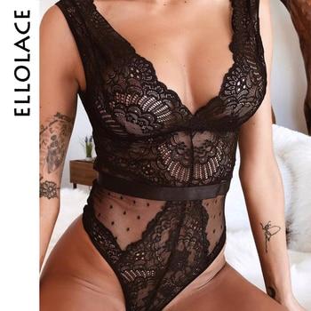 Ellolace – Body en dentelle pour femmes, broderie florale, décolleté en V profond, Sexy, à pois, Patchwork, combinaison, été, 2019