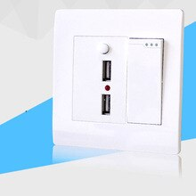 Typ 86 dual-control-schalter mit dual USB buchse 220 v wand lade zwei-loch USB interface power panel