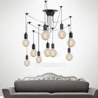 LukLoy Vinatge Wire Rope Pendant Ceiling Lamp Spider Chandelier Luminaire Hanging Industrial Lamp Loft Kitchen Light Fixture