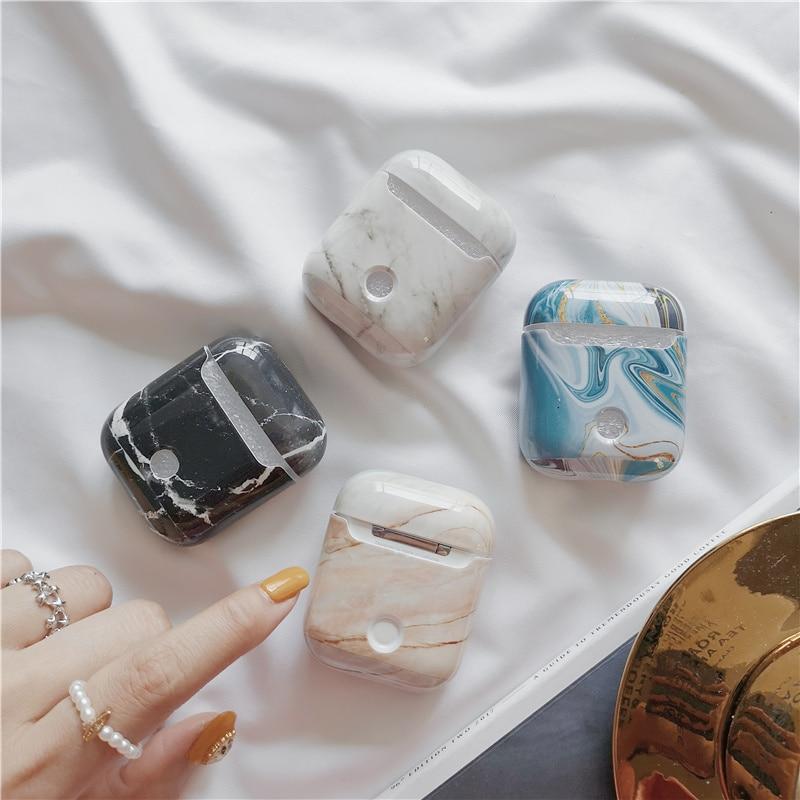 Funda dura de mármol de lujo para Apple funda de AirPods cubierta protectora ágata Bluetooth auriculares inalámbricos estuche caja de carga bolsas