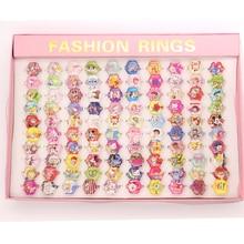 Gros bijoux accessoires 100 pièces mélange Lot dessin animé cendrillon neige princesse petite sirène bébé enfants fille enfants anneaux cadeau