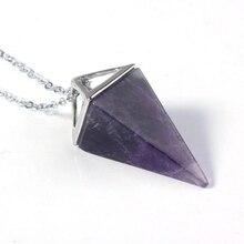 Kraft-perles argent plaqué pyramide carrée améthystes Rose Rose Quartz pendentif cristal de roche collier Opalite opale bijoux