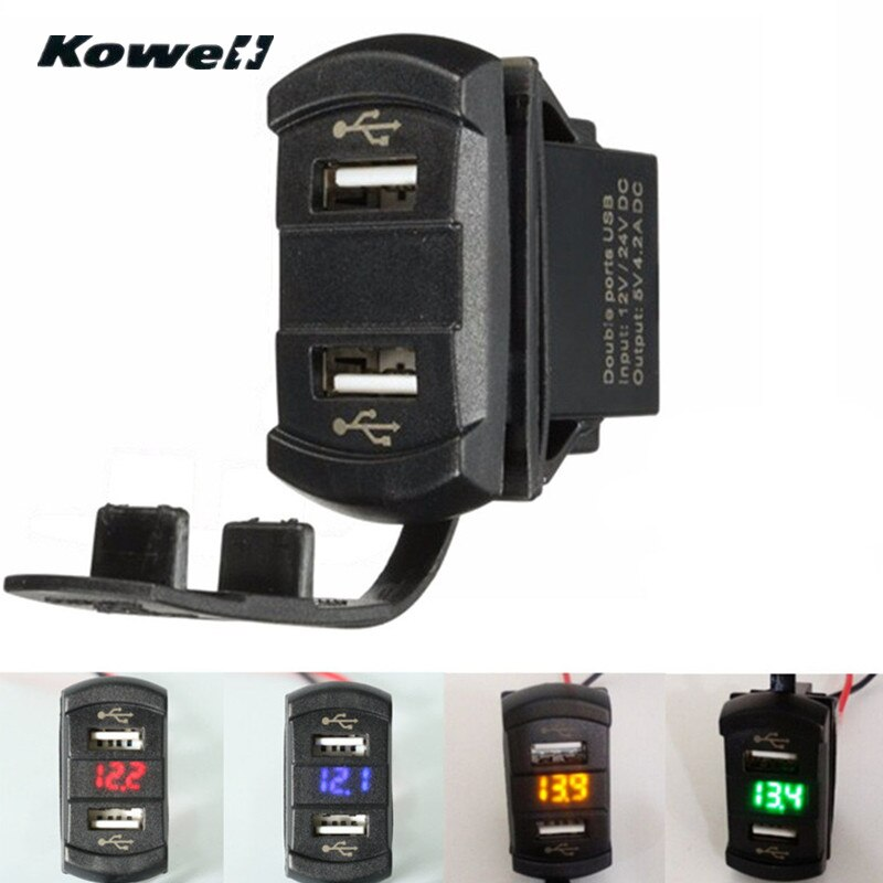 KOWELL 12V 4.2A Auto Moto Dual puertos 2USB adaptador/cargador de energía del divisor del zócalo del LED de Meterr medidor de tensión de interruptor Panel