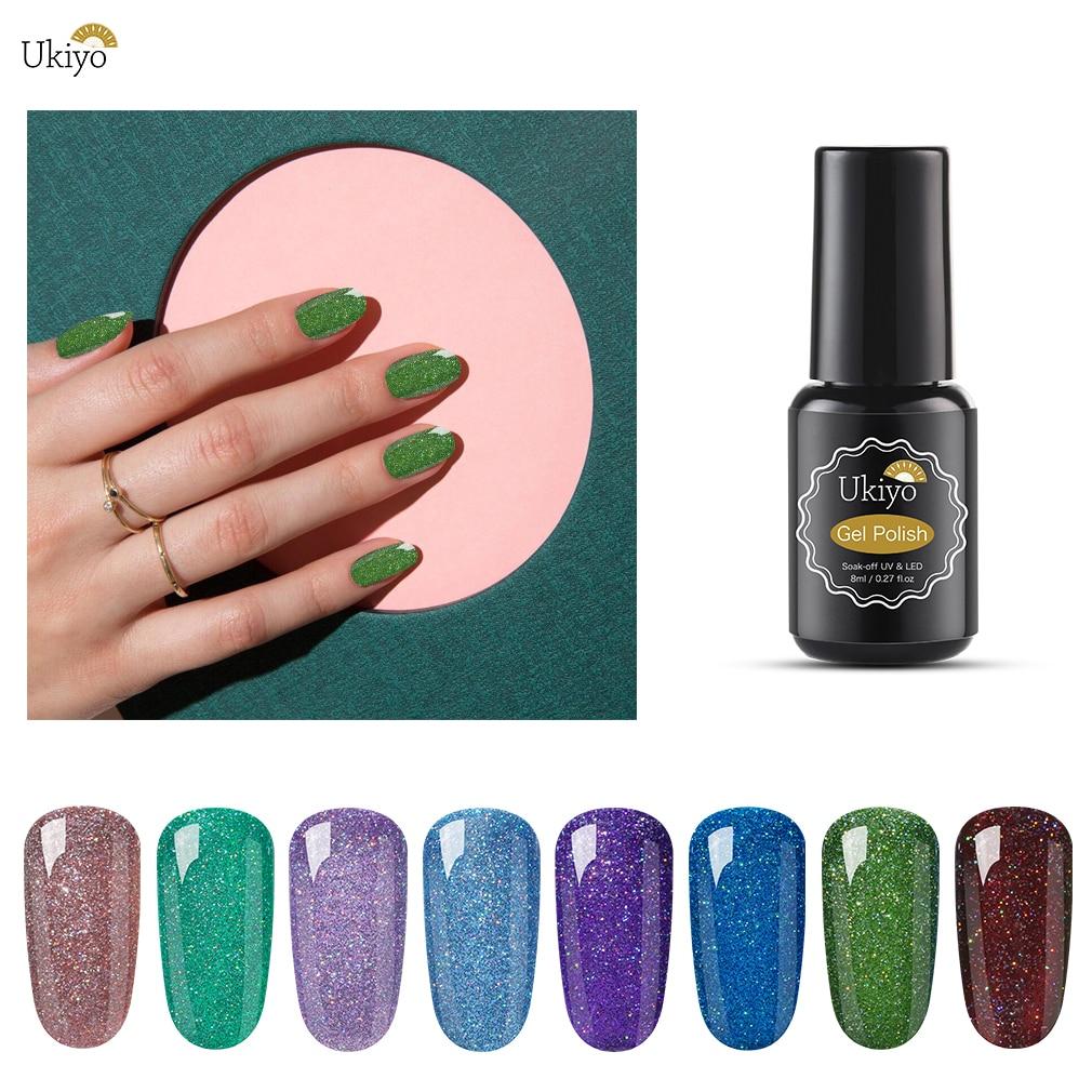 Ukiyo 8ml Neon Cor Gel UV Polonês Brilho Estrelado Gel Soak Off Nail Art Gel Unha Verniz Semi Permanente polonês Laca Sorte
