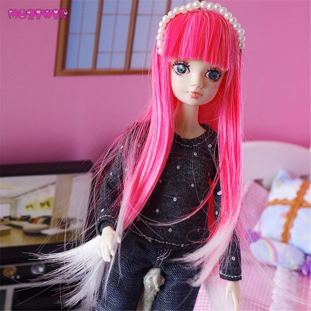 Envío Gratis pelucas de pelo liso de fibra sintética para muñeca Kurhn/Monster Doll 1/8