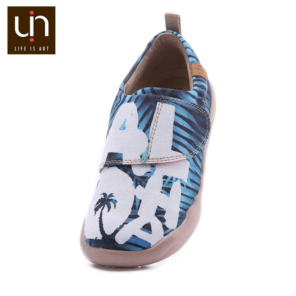 UIN Aloha Design Canvas Casual Shoes for Big Kids Hook & Loop Soft Flats Boys/Girls Comfort Outdoor Children Shoes Sneakers enlarge