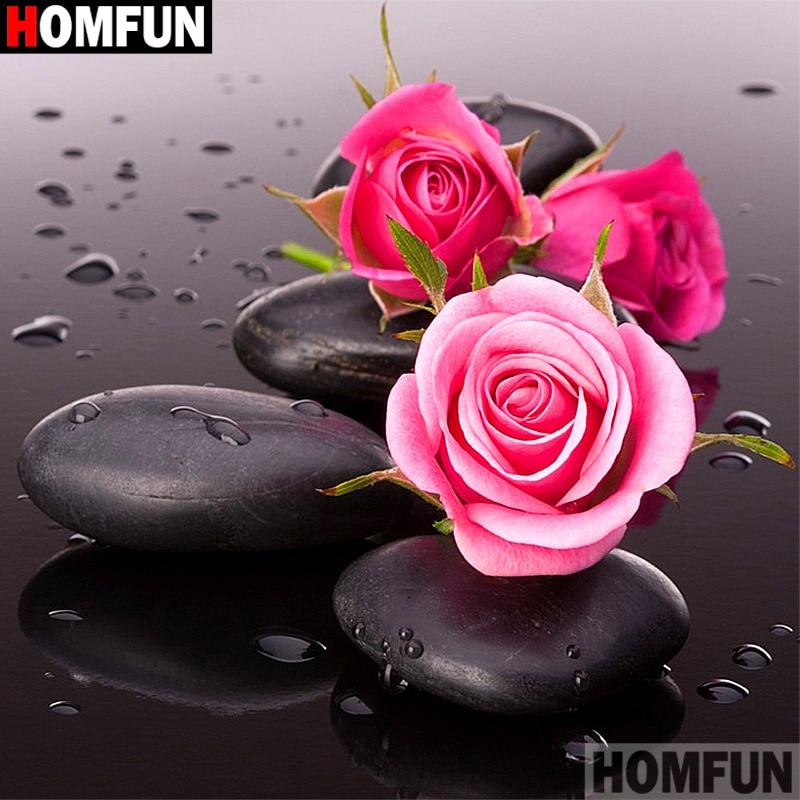 """HOMFUN taladro cuadrado/redondo completo 5D DIY pintura de diamante """"flor piedra paisaje"""" 3D bordado punto de cruz 5D decoración regalo A16799"""