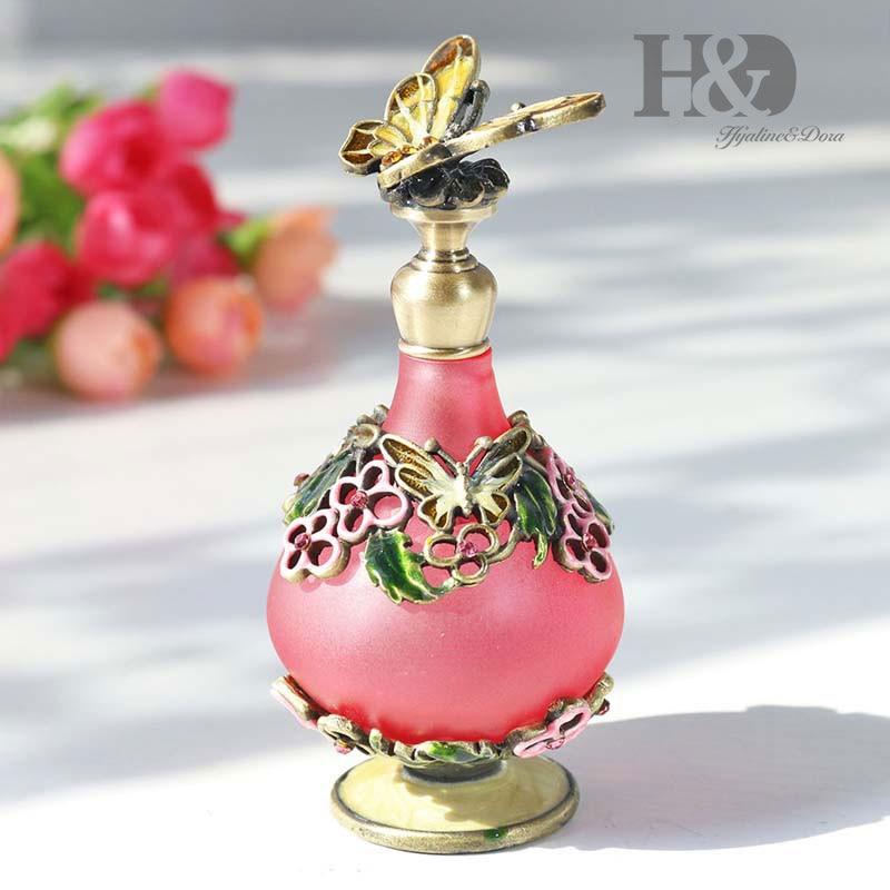 Botellas púrpuras de perfumes Vintage H & D de 25ML, diseño de mariposa rellenable vacío que restaura la decoración antigua de la boda del hogar