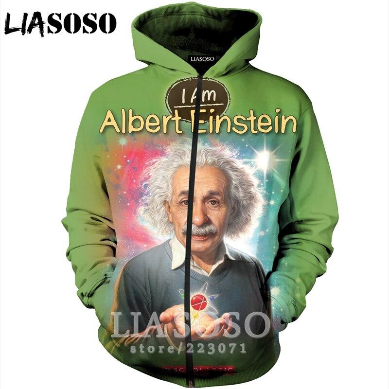 LIASOSO 2019 invierno nuevo hombres mujeres 3D imprimir Albert Einstein cremallera sudadera Casual Tops Unisex manga larga abrigo sudadera B006-07
